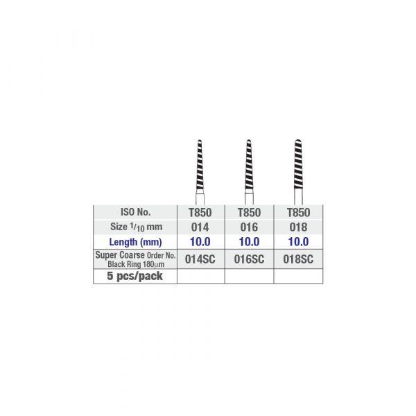 NTI Round End Taper (Chamfer) Super Coarse Turbo Diamond Burs FG 5pcs – ISO No T850 - Chart - Picture 2